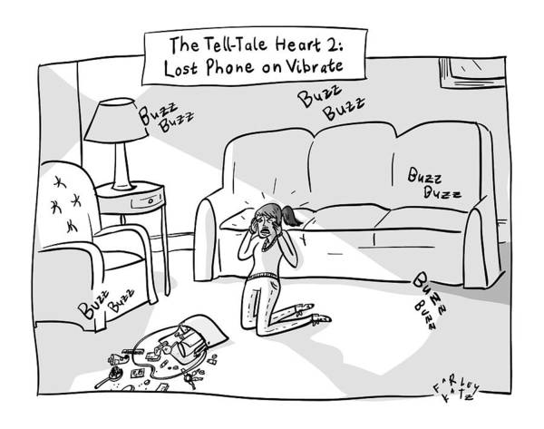 Poe Wall Art - Drawing - Tell-tale Heart 2: Lost  Phone On Vibrate -- by Farley Katz