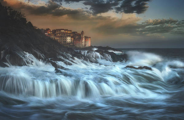 Waves Photograph - Tellaro Water Fall by Paolo Lazzarotti