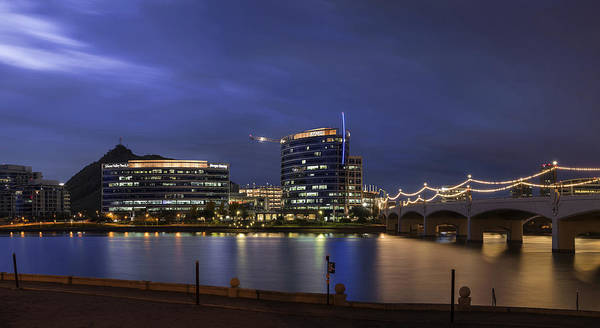 Photograph - Tempe Town Lake Blue Pano by Dave Dilli