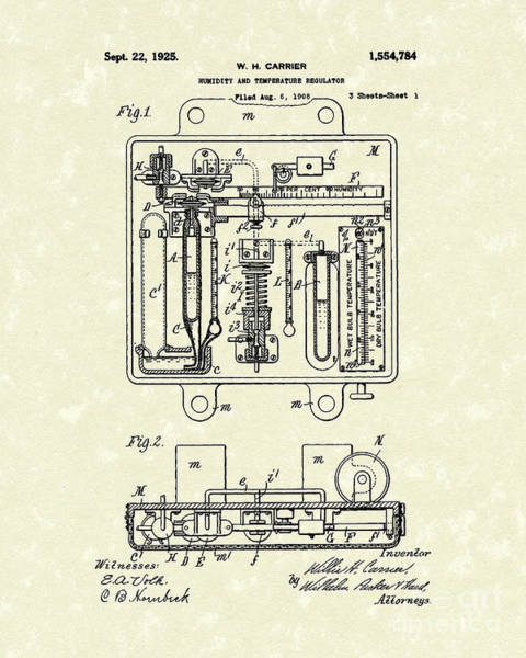 Drawing - Temperature Regulator 1925 Patent Art by Prior Art Design