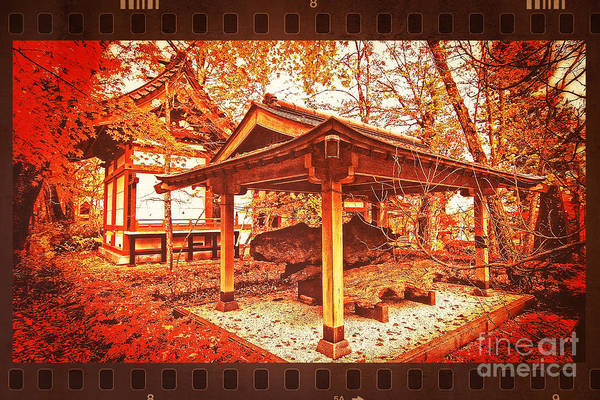 Photograph - Temple Among Vivid Autumn Leaves by Beverly Claire Kaiya
