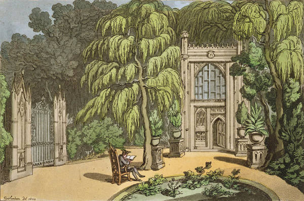 Exterior Painting - Temple At Strawberry Hill by Thomas Rowlandson