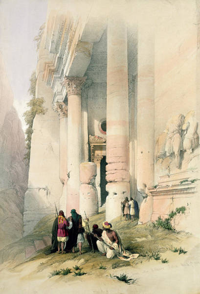 Portico Painting - Temple Called El Khasne by David Roberts