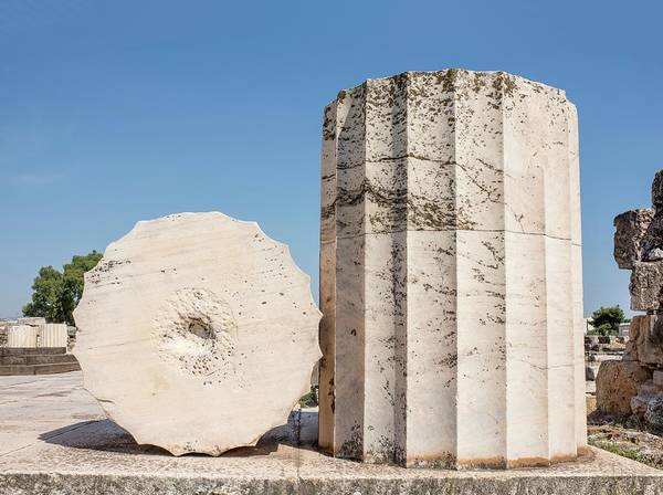 Peloponnese Photograph - Temple Column And Section by David Parker/science Photo Library