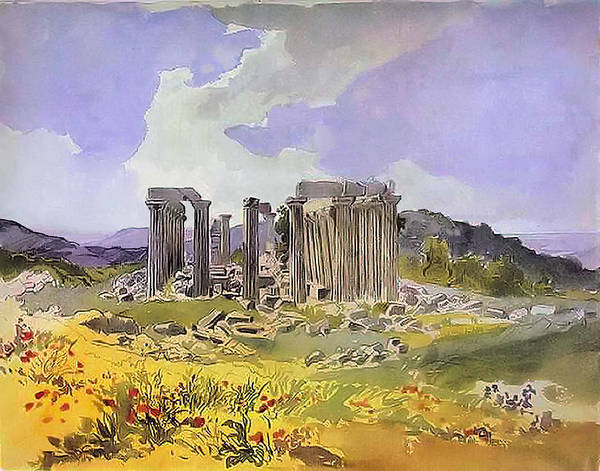 Painting - Temple Of Apollo by Karl Brulloff