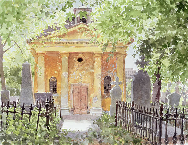 Church Yard Painting - Temple Of Harmony, Vesprem, Hungary, 1996 Wc On Paper by Lucy Willis