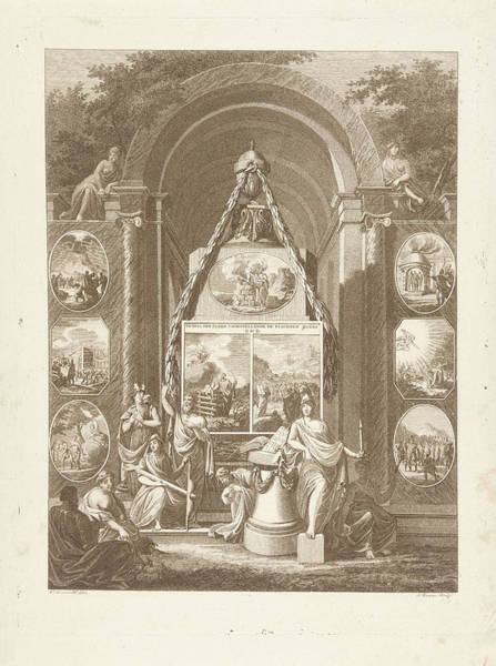Allegorical Figure Drawing - Temple Of Manners Depicting The Duties To God by Joannes Bemme