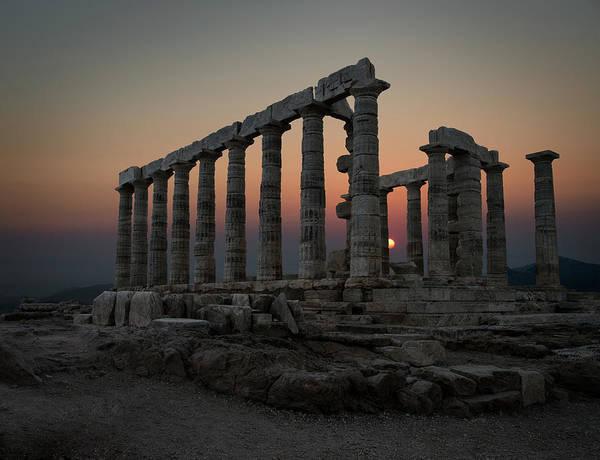 Ancient Greek Photograph - Temple Of Poseidon, Sounion, Greece by Ed Freeman