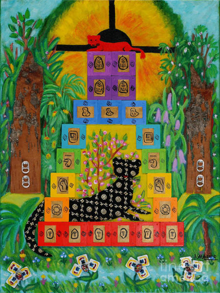 Recycled Materials Painting - Temple Of The Jaguar by Barbara Sala