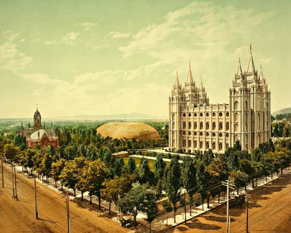Photograph - Temple Square Church Salt Lake City 1899 by Movie Poster Prints
