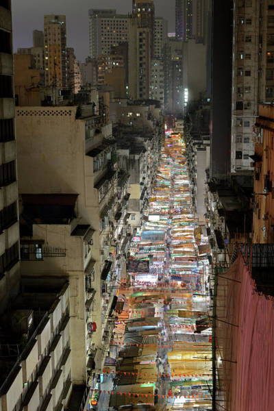 Tent Photograph - Temple Street, Hong Kong, At Night by Wilfred Y Wong
