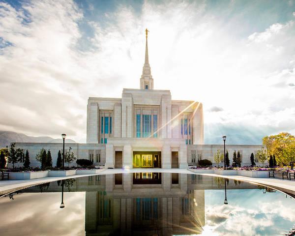 Mormon Photograph - Temple Sunburst 5 X 4 Format by Scott Law