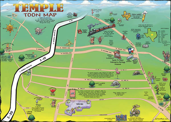 Digital Art - Temple Texas Cartoon Map by Kevin Middleton