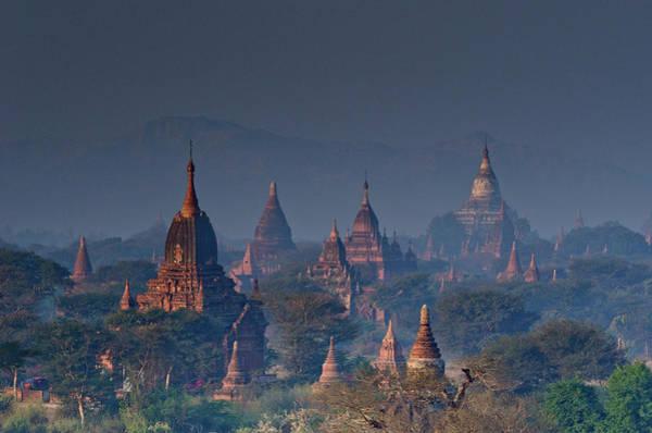 Dawn Photograph - Temples In Dawn Light, Bagan, Myanmar by Rwp Uk
