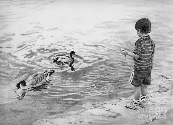 Goose Drawing - Tempting by Suzanne Schaefer