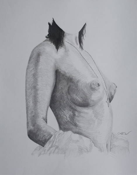 Hooter Drawing - Temptress by Christian Whalvin
