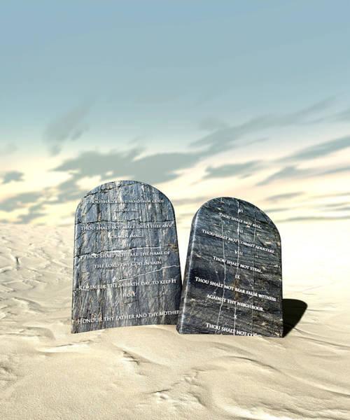 Christianity Digital Art - Ten Commandments Standing In The Desert by Allan Swart