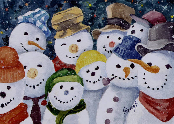 Painting - Ten Little Snowmen by Sam Sidders