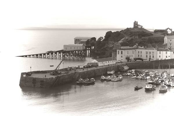 Photograph - Tenby Harbour And Castle Hill Vignette by Jeremy Hayden