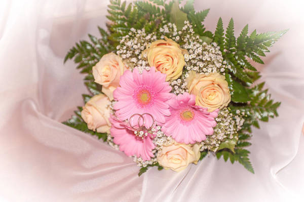 Wedding Bouquet Photograph - Tender Bridal Bouquet Witn Wedding Rings by Jenny Rainbow