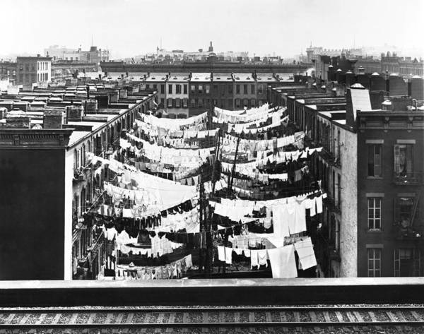 Turn Of The Century Wall Art - Photograph - Tenement Housing Laundry by Underwood Archives