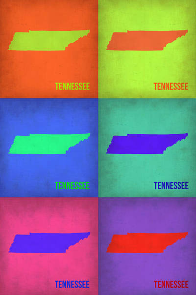 Wall Art - Painting - Tennessee Pop Art Map 1 by Naxart Studio