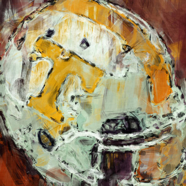 Facemask Digital Art - Tennessee Volunteers Helmet Abstract by David G Paul