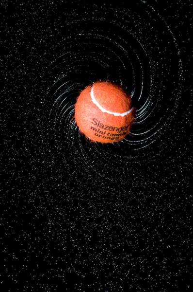 Moving Water Photograph - Tennis Ball And Spray by Dr. John Brackenbury/science Photo Library