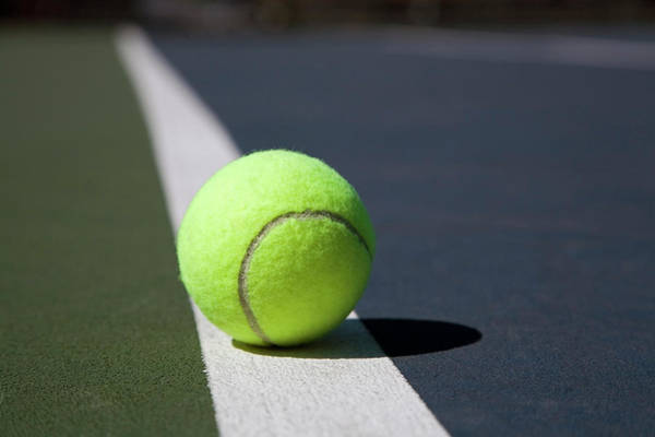 Court Photograph - Tennis Ball On A Line In A Court by Snap Decision
