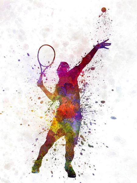 Competitive Wall Art - Painting - Tennis Player At Service Serving Silhouette 01 by Pablo Romero