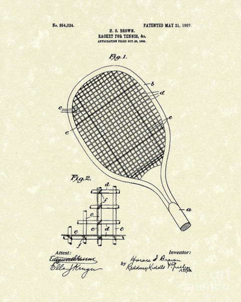 Wall Art - Drawing - Tennis Racket 1907 Patent Art by Prior Art Design