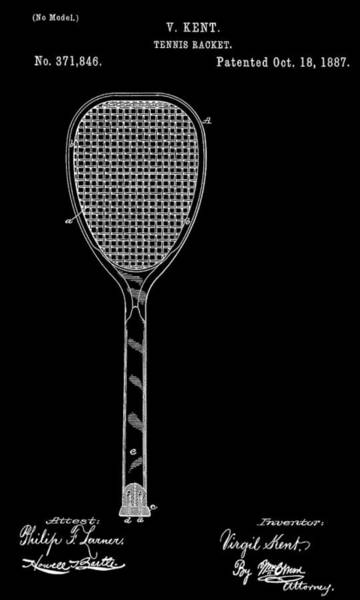 Patents Mixed Media - Tennis Racket by Dan Sproul