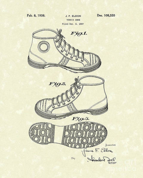 Photograph - Tennis Shoe 1938 Patent Art by Prior Art Design