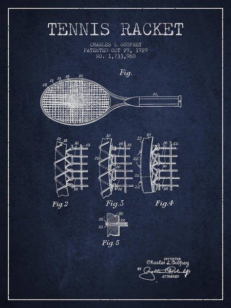 Intellectual Property Wall Art - Digital Art - Tennnis Racket Patent Drawing From 1929 by Aged Pixel