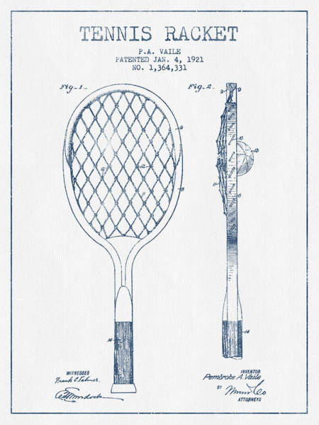 Wall Art - Digital Art - Tennnis Racketl Patent Drawing From 1921 -  Blue Ink by Aged Pixel