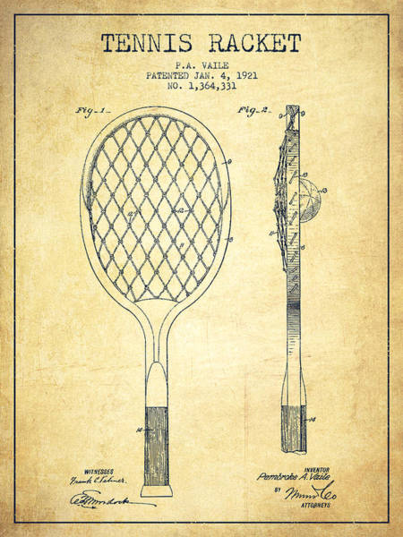 Wall Art - Digital Art - Tennnis Racketl Patent Drawing From 1921 - Vintage by Aged Pixel