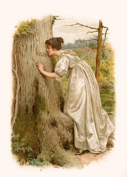 Carving Painting - Tennyson S Olivia by George Goodwin Kilburne