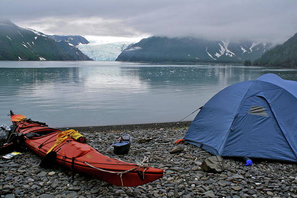 Tent Photograph - Tent And Kayak On Beach In Alaska by Michal Gutowski Photography