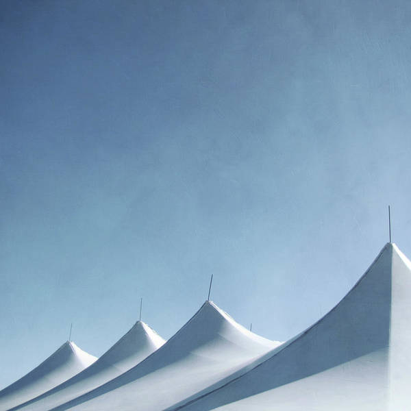 Tent Photograph - Tent Roofs On Blue Sky by Francois Dion