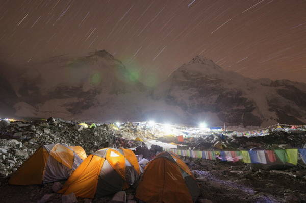 Tent Photograph - Tents At Everest Base Camp At Night by Christian Kober / Robertharding