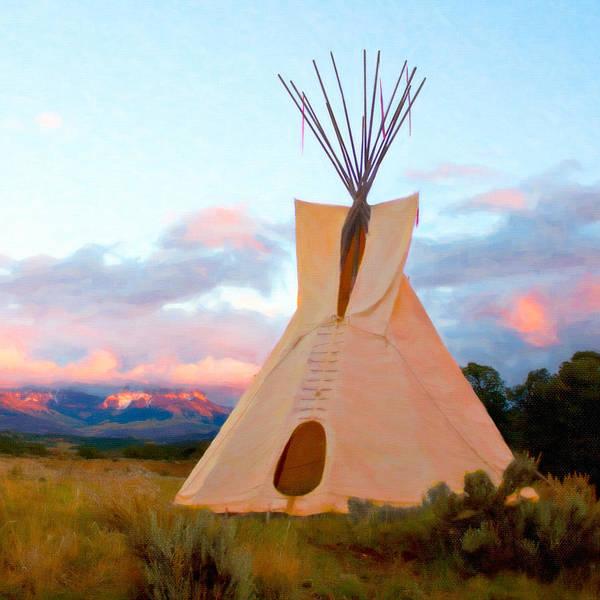 Digital Art - Tepee At Sunset by Rick Wicker