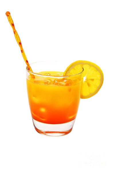 Tequila Sunrise Photograph - Tequila Sunrise And Lemon Isolated by Danny Hooks