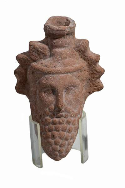 Ancient Egypt Photograph - Terra-cotta Dionysus Head Flask by Photostock-israel