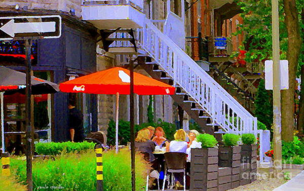 Painting - Terrasse Lafayette Greek And Grill Rue Villeneuve Montreal Sidewalk Cafe Scenes Carole Spandau by Carole Spandau