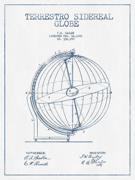 Country Living Digital Art - Terrestro Sidereal Globe Patent Drawing From 1886- Blue Ink by Aged Pixel