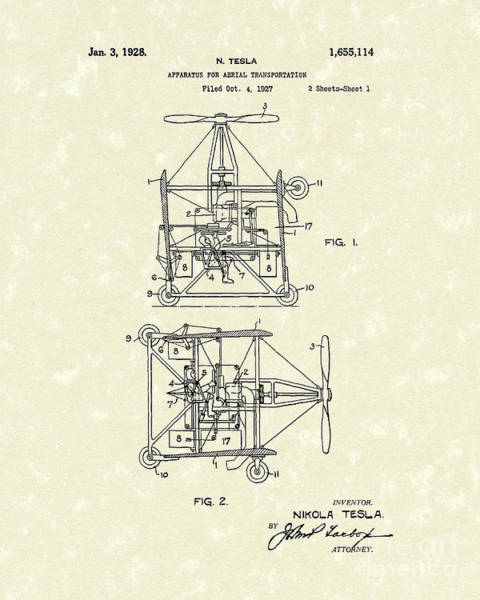 Wall Art - Drawing - Tesla Aerial Apparatus 1928 Patent Art by Prior Art Design