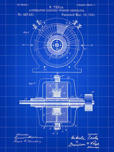 Wall Art - Digital Art - Tesla Alternating Electric Current Generator Patent 1891 - Blue by Stephen Younts