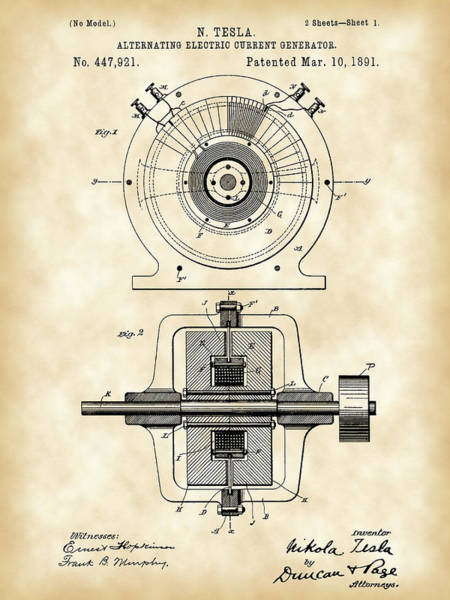 Current Wall Art - Digital Art - Tesla Alternating Electric Current Generator Patent 1891 - Vintage by Stephen Younts