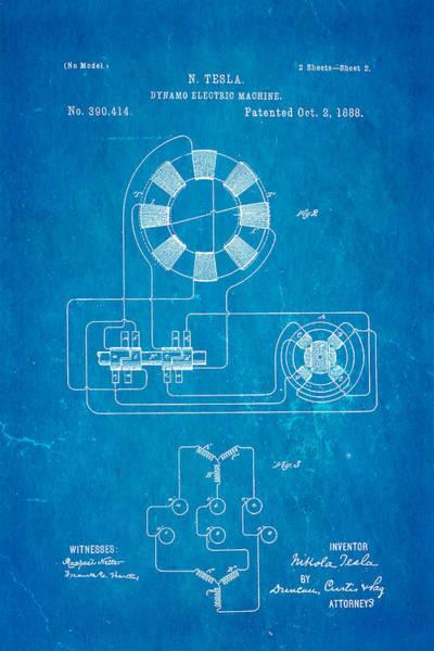 1888 Photograph - Tesla Electric Dynamo Patent Art 2 1888 Blueprint by Ian Monk