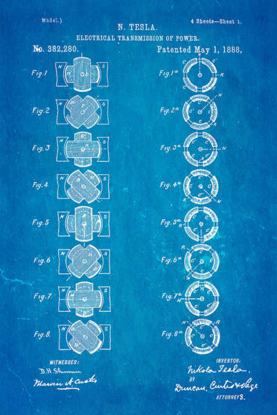 1888 Photograph - Tesla Electrical Transmission Of Power Patent Art 1888 Blueprint by Ian Monk